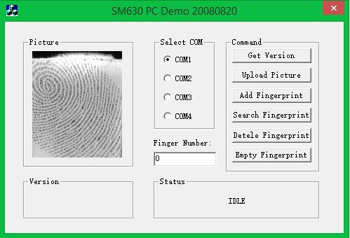 Fingerprint sm630 program